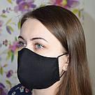Маска защитная черная трехслойная многоразовая хлопковая женская, фото 3