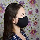 Маска защитная черная трехслойная многоразовая хлопковая женская, фото 2
