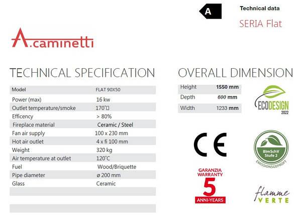 Камінна топка A. caminetti Flat 90x50 гільйотина, фото 2