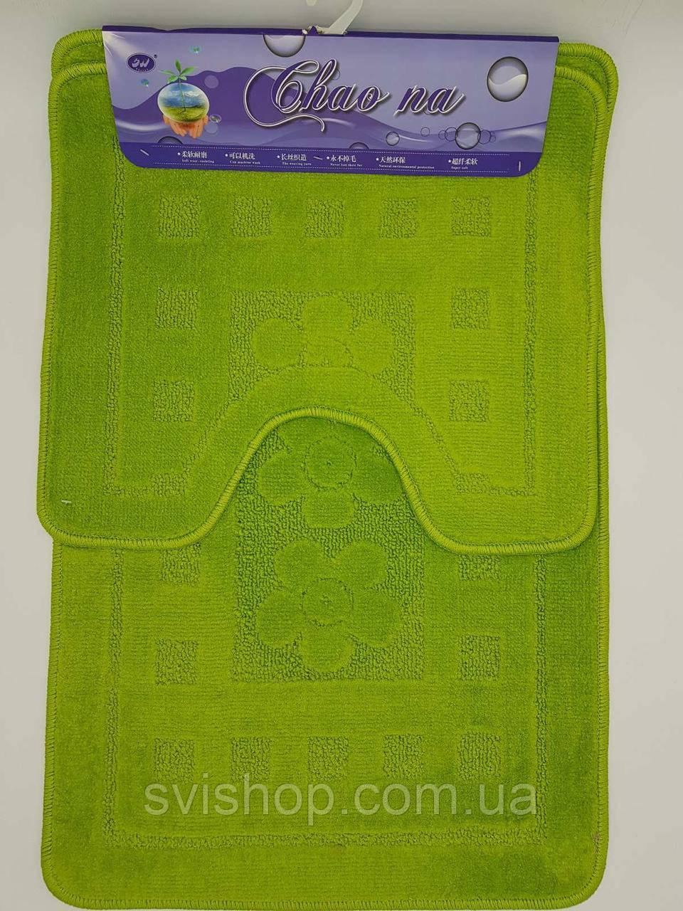 Набор ковриков с ворсом для ванной 50х80 и туалета 50х40. Зеленый цвет.