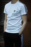 Футболка + Шорты WOW Adidas Белый верх Черный низ Комплект летний повседневный Качество LUX Реплика