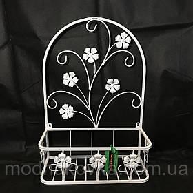 Подставка для цветов подвесная кованая белая 48х18cм Мальва 02 малая