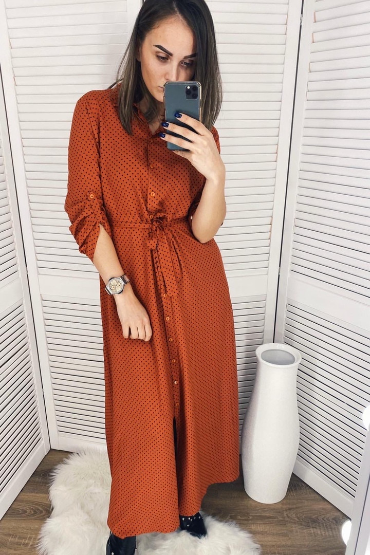 Платье макси штапельное рубашечного кроя с пуговками по всей длине,под поясок,Р-р.S,M,L,XL  Код 352Т