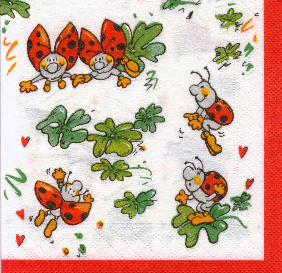 Коллекционная салфетка для декупажа Счастливые божьи коровки 5078