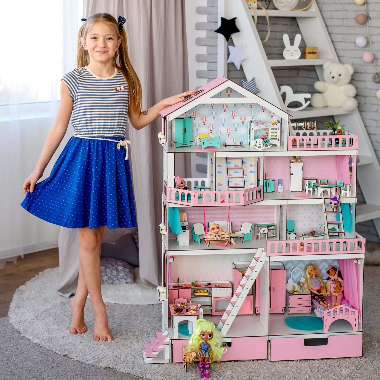 """Кукольный домик NestWood """"Большой особняк для кукол ЛОЛ"""" + Подарок мебель 9 единиц"""