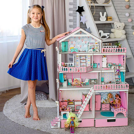 """Кукольный домик NestWood """"Большой особняк для кукол ЛОЛ"""" + Подарок мебель 9 единиц, фото 2"""