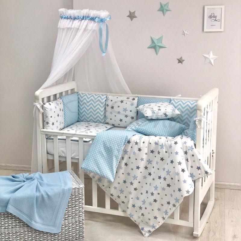 Постільний набір в ліжечко Baby Design Stars блакитний