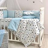 Постільний набір в ліжечко Baby Design Stars блакитний, фото 5