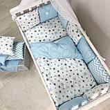 Постільний набір в ліжечко Baby Design Stars блакитний, фото 7