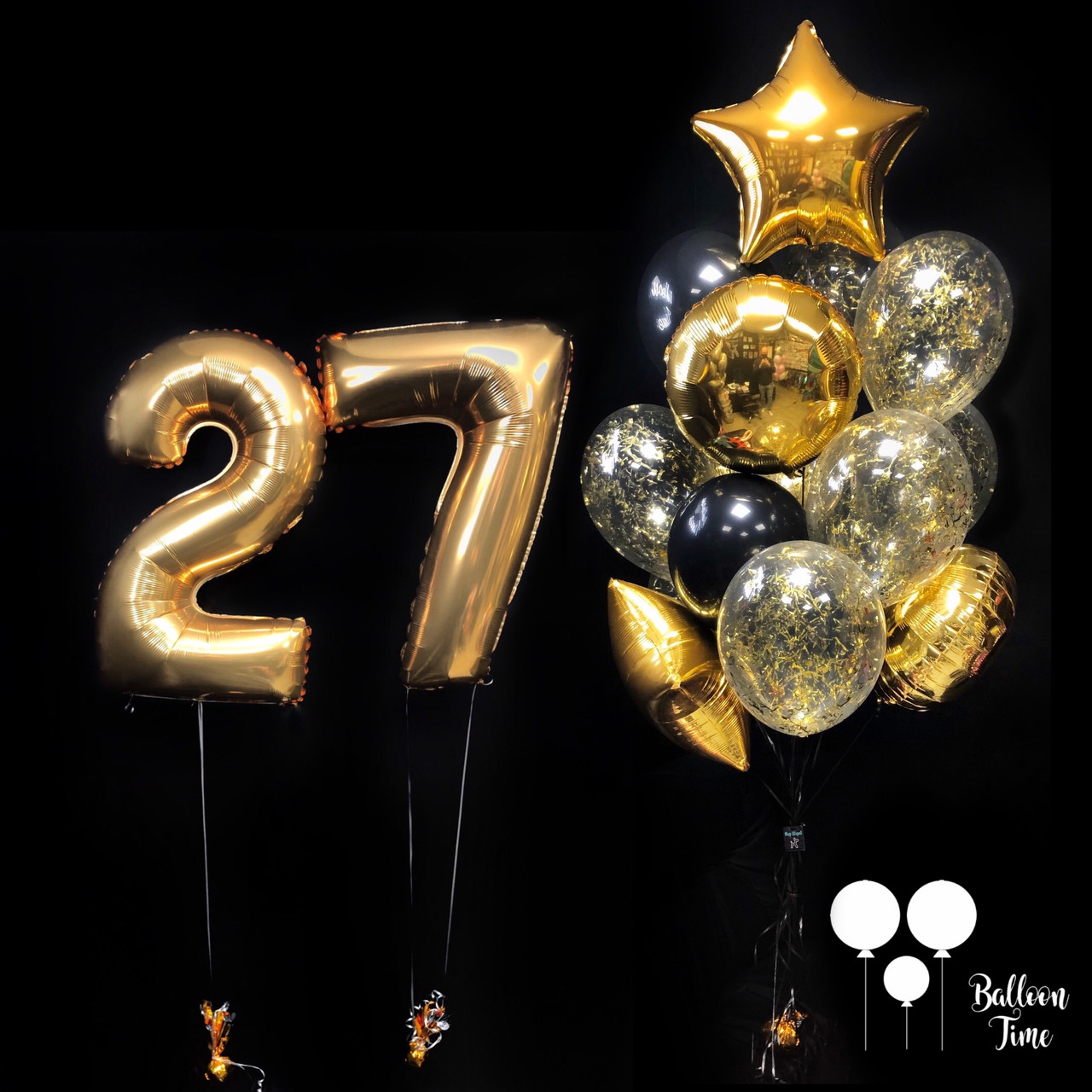 Цифры 27 + связка гелиевых шаров в чёрно-золотом цвете