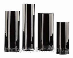 Черная ваза цилиндр.Черная ваза тубус. Ваза из черного стекла. Black glass. h - 145мм, d - 110 мм