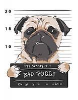 """Набор для рисования Картина по номерам. Rosa Плохой пес """"Bad Puggy"""" 35х45см."""