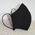 Маска защитная трехслойная детская многоразовая хлопковая. Черная, фото 2