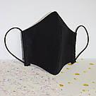 Маска защитная трехслойная детская многоразовая хлопковая. Черная, фото 3