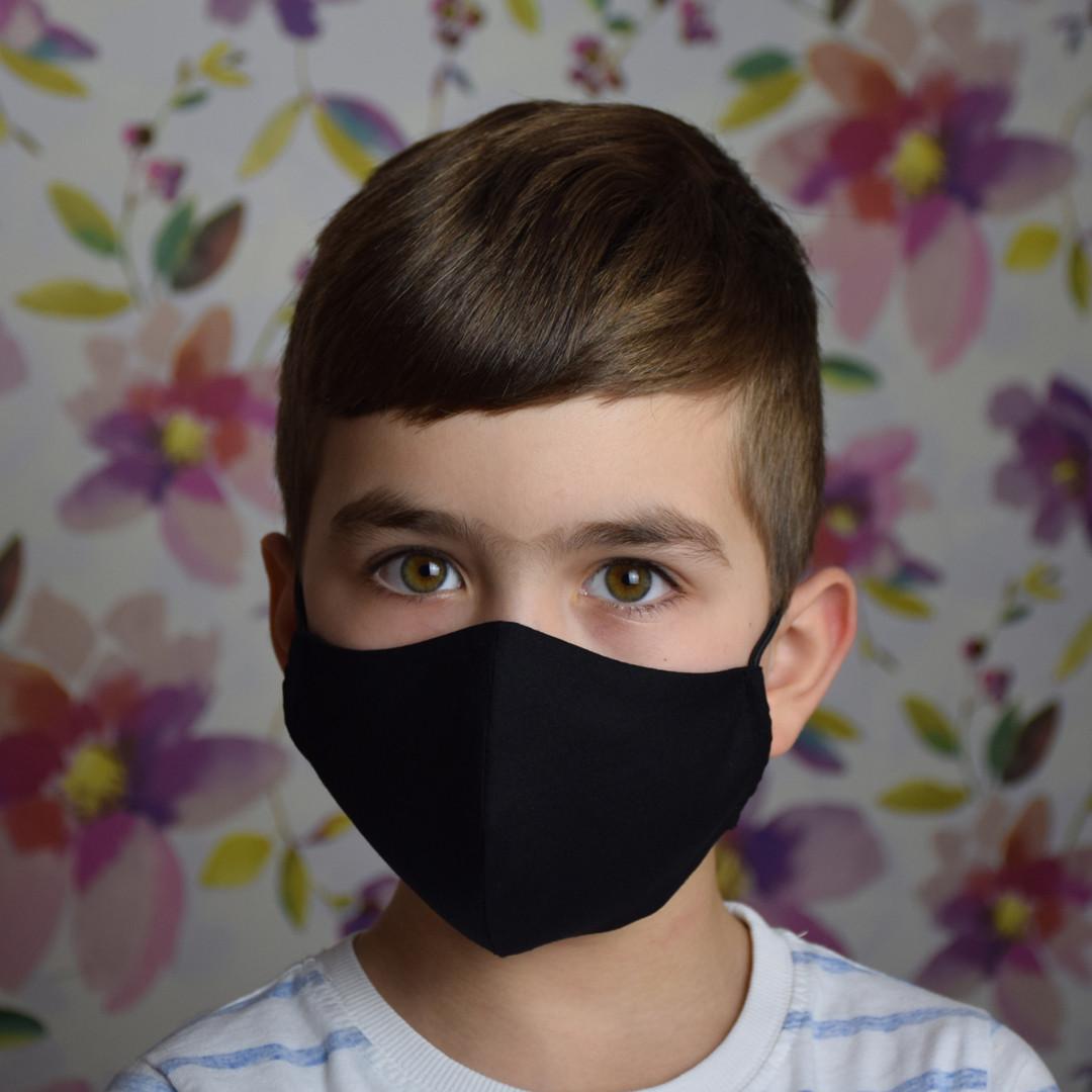 Маска защитная трехслойная детская многоразовая хлопковая. Черная