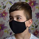 Маска защитная трехслойная детская многоразовая хлопковая. Черная, фото 4