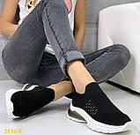 Кроссовки слипоны черные текстильные на амортизаторах силиконовой подушке 41 (2136-5), фото 3
