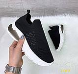 Кроссовки слипоны черные текстильные на амортизаторах силиконовой подушке 41 (2136-5), фото 4