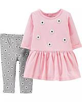 Красивый детский комплект - платье и лосины в цветочки Картерс для девочки