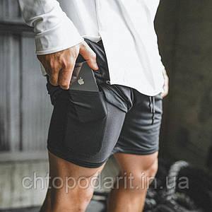Спортивные шорты с карманом для телефона, мужские шорты-тайтсы черные c черными тайтсами размер 3XL 25-0035
