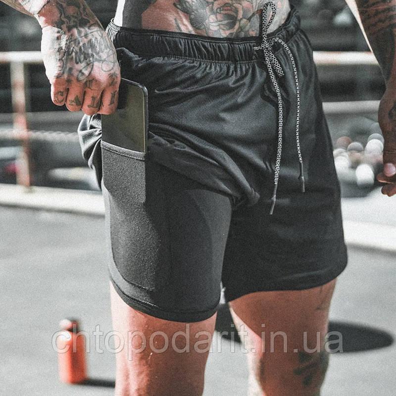 Спортивні шорти з кишенею для телефону, чоловічі шорти-тайтсы черные25-0066