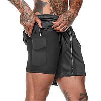 Спортивные шорты с карманом для телефона, мужские шорты-тайтсы черные25-0005