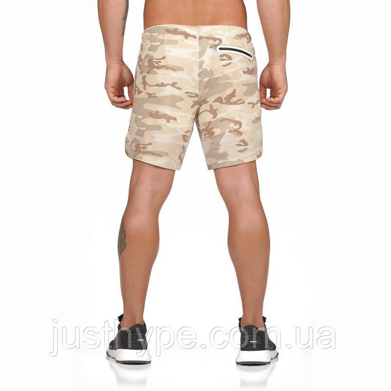 Спортивные шорты с карманом для телефона, мужские шорты-тайтсы хакки светлый25-0007