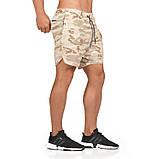 Спортивные шорты с карманом для телефона, мужские шорты-тайтсы хакки светлый25-0007, фото 3