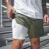 Спортивные шорты с карманом для телефона, мужские шорты-тайтсы хакки светлый25-0007, фото 9