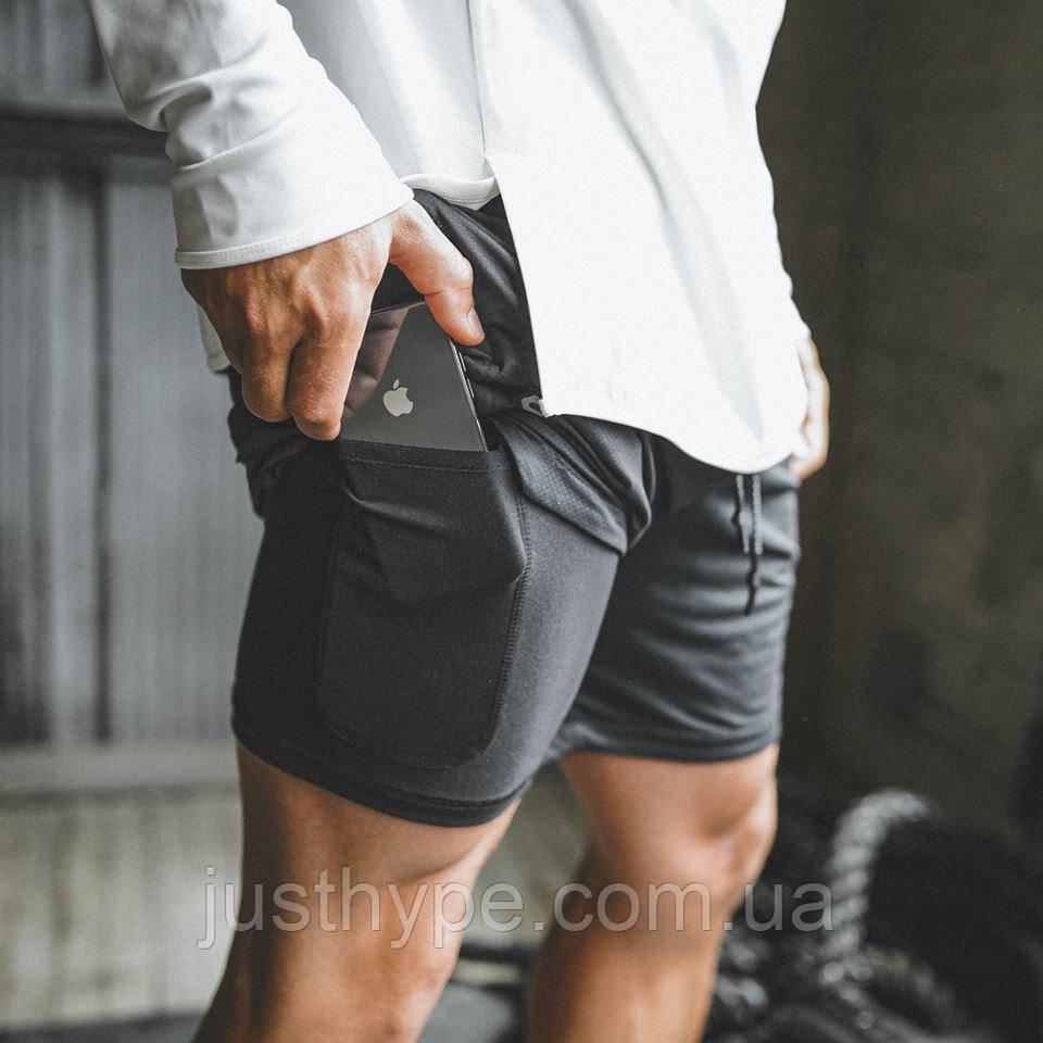 Спортивные шорты с карманом для телефона, мужские шорты-тайтсы черные25-0015