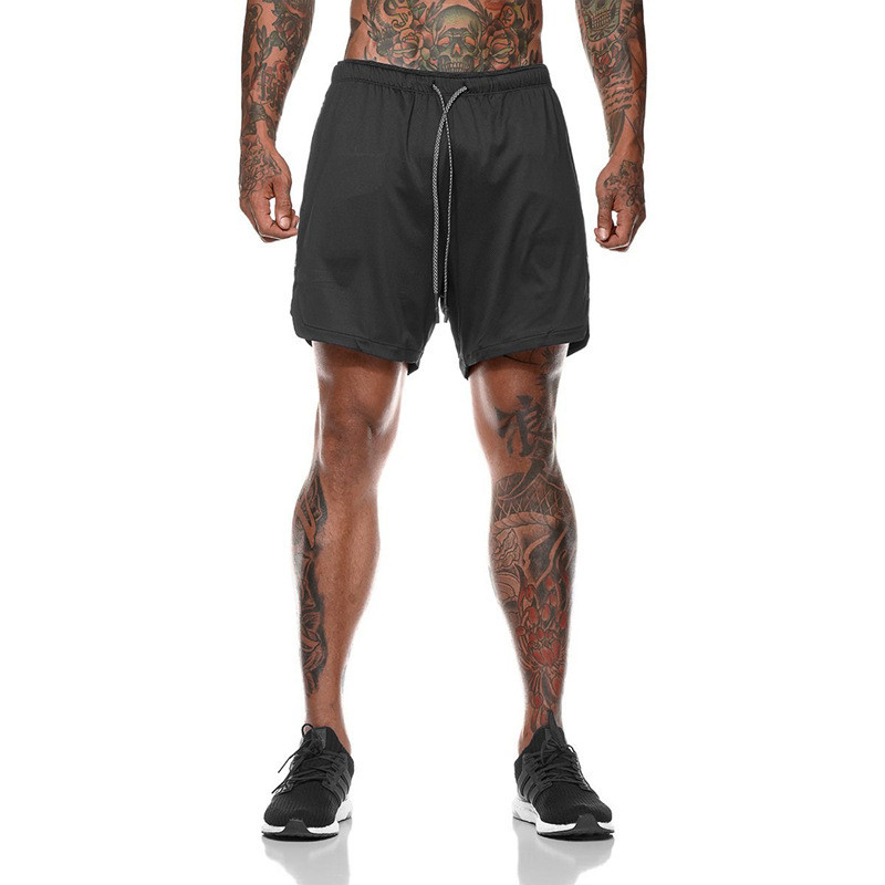 Спортивные шорты с карманом для телефона, мужские шорты-тайтсы черные25-0019