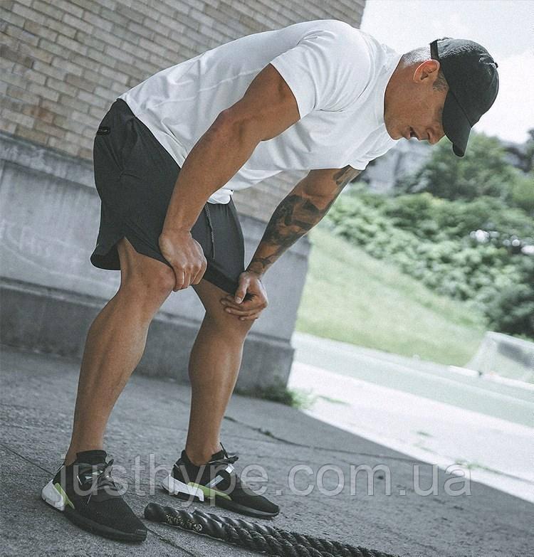 Спортивные шорты с карманом для телефона, мужские шорты-тайтсы черные25-0029