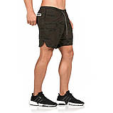 Спортивные шорты с карманом для телефона, мужские шорты-тайтсы черные25-0029, фото 5