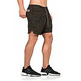 Спортивные шорты с карманом для телефона, мужские шорты-тайтсы хаки темный 25-0039, фото 2