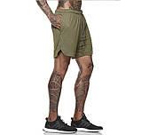 Спортивные шорты с карманом для телефона, мужские шорты-тайтсы хаки темный 25-0039, фото 8
