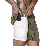 Спортивные шорты с карманом для телефона, мужские шорты-тайтсы хаки темный 25-0039, фото 10