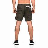 Спортивные шорты с карманом для телефона, мужские шорты-тайтсы черные25-0045, фото 5