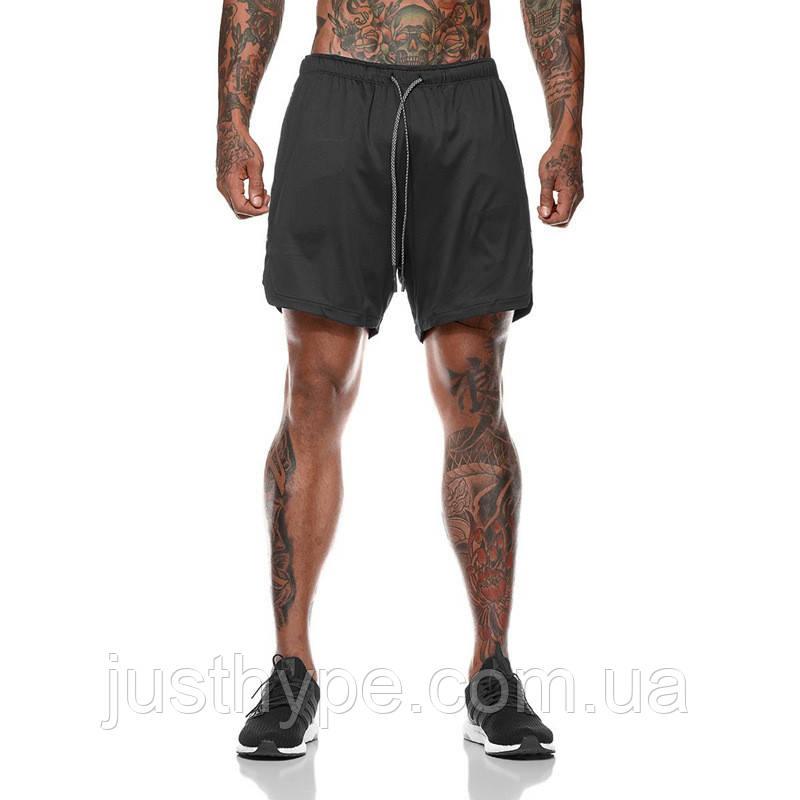 Спортивные шорты с карманом для телефона, мужские шорты-тайтсы черные25-0064