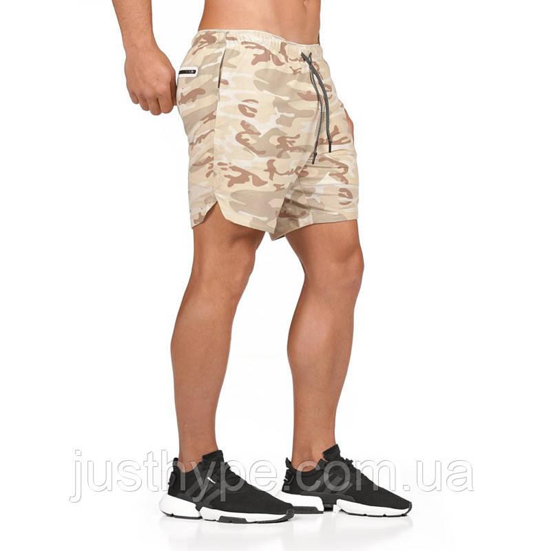 Спортивные шорты с карманом для телефона, мужские шорты-тайтсы хакки светлый25-0068