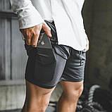 Спортивные шорты с карманом для телефона, мужские шорты-тайтсы черный 25-0073, фото 3
