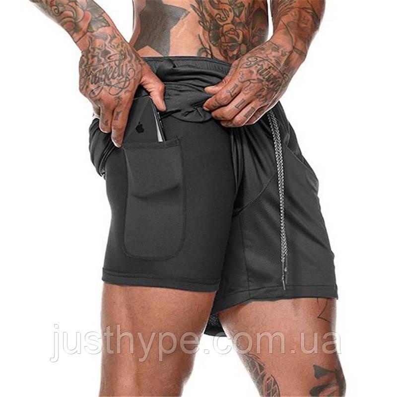 Спортивные шорты с карманом для телефона, мужские шорты-тайтсы черный 25-0073