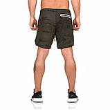 Спортивные шорты с карманом для телефона, мужские шорты-тайтсы черный 25-0073, фото 6