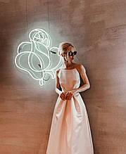 Вечернее свадебное минималистичное атласное миди платье выпускное с открытой спиной айвори белое