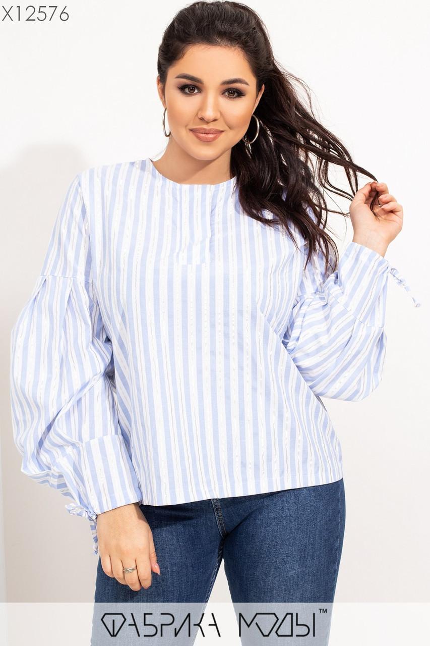 Женская коттоновая блуза батальных размеров в полоску с рукавами - фонариками tez115526