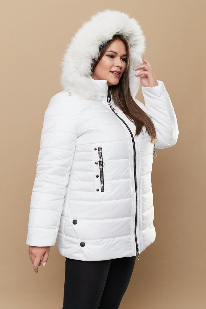 Женская зимняя куртка батальных размеров с капюшоном и опушкой tez3115319
