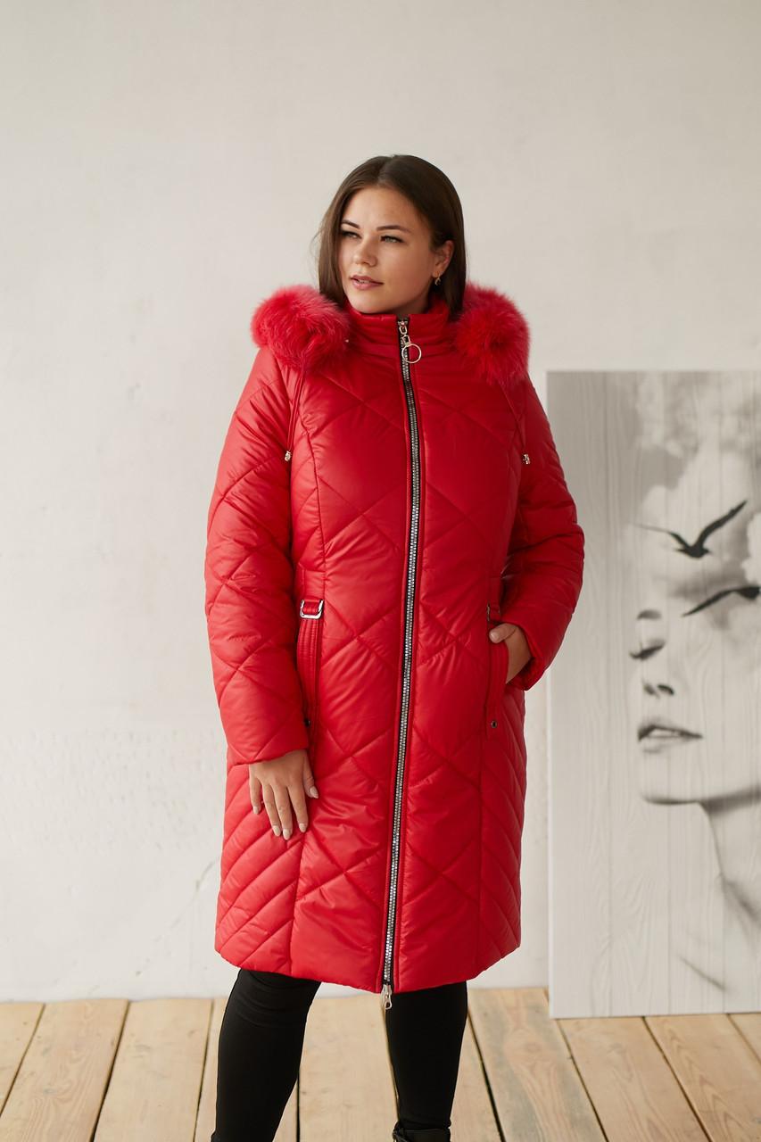 Женская удлиненная плащевая куртка батальных размеров с капюшоном и опушкой tez3115322