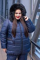 Женская зимняя куртка батальных размеров с поясом и мехом на капюшоне tez1015474
