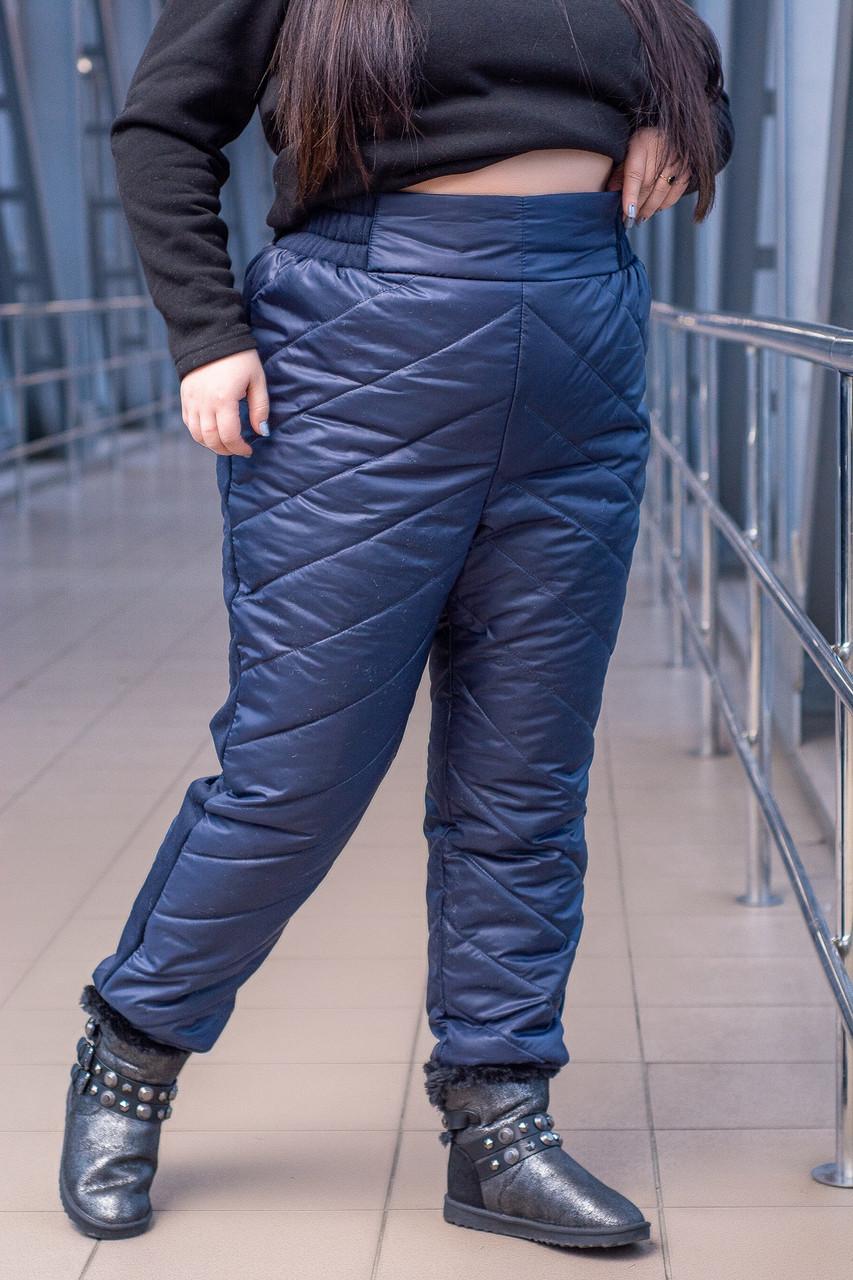 Женские стеганные плащевые утепленные штаны батальных размеров tez1015475