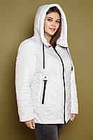 Стеганная женская куртка батальных размеров весенняя с капюшоном tez3115534, фото 1