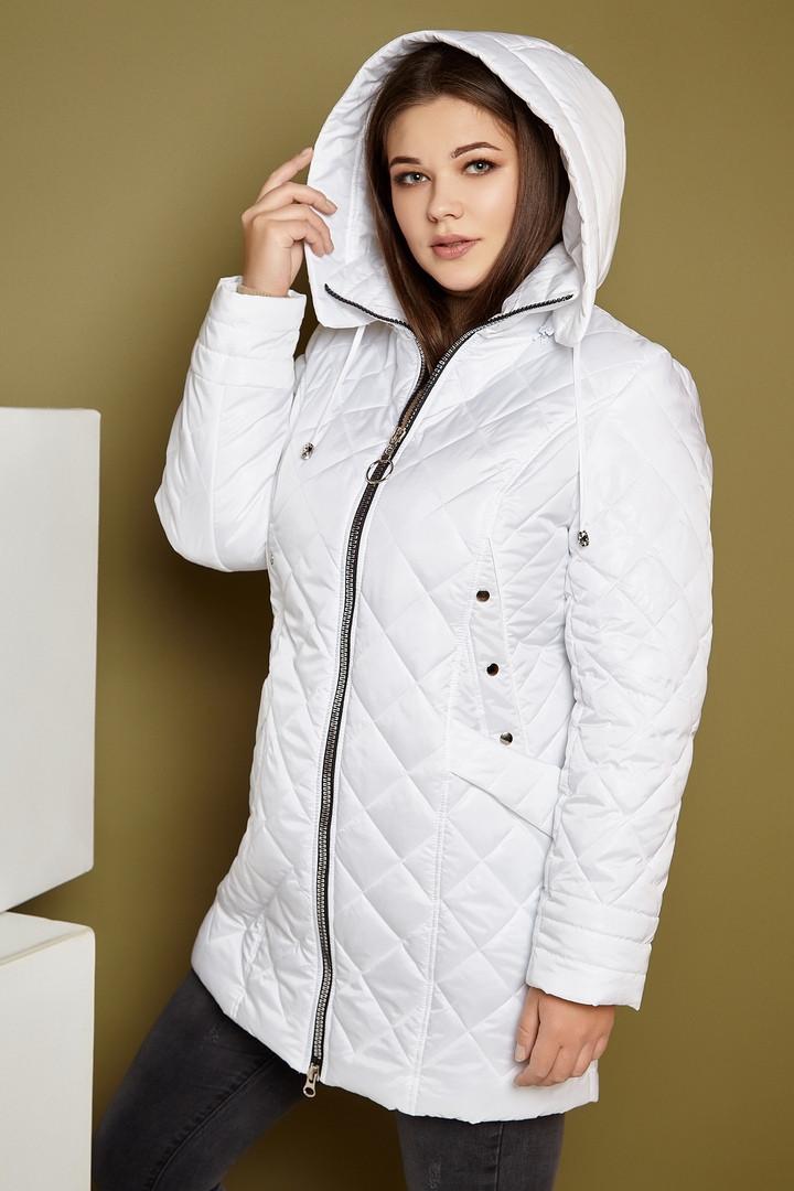 Удлиненная женская стеганная легкая куртка батальных размеров на молнии tez3115535